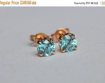 SALE Rose Gold Stud Earrings, Zircon Stud Earrings, 5mm Zircon Studs, Blue Zircon, Blue Zircon Studs, Blue Zircon Earrings, Cambodian Zircon