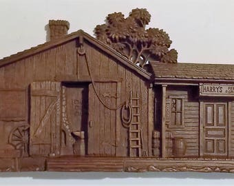 Vintage Isaac Blacksmith Shop Wall Hanging, Harry's Feed & Grain, 23 1/2 W x 10 1/4 H x 2 1/8 D, Detailed Design, Brown Heavy Molded Plastic