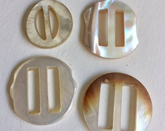 Vintage Mother of Pearl  Buckles  - 4 Assorted Sizes