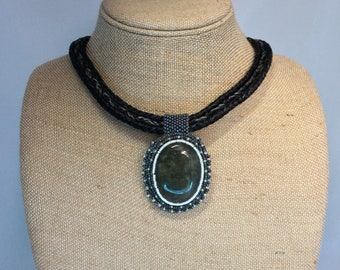21 Inch Triple Strand Black and Gray Horse Hair Braided Horsehair Collar Necklace With Beaded Labradorite Focal Pendant