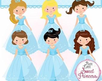 ON SALE Princess Clip Art / Blue Princesses Clip Art.Fairytale Princess Clip Art,Fairy Tale Princess Clipart,Blue Birthday,Elsa and Anna