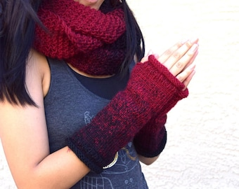 Knit cowl and fingerless gloves dark red black infinity scarf arm warmers multicolor gift for her girls scarf gloves gift for friend