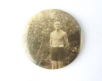 Vintage Celluloid Photo Pocket Mirror Purse Art Deco Swimmer Man Swim Trunks Sepia Tone