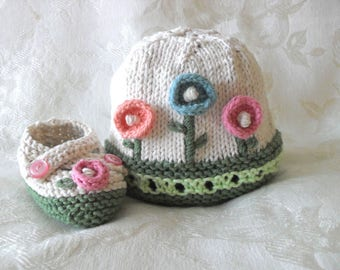 Hand Knitted Baby HAT and MATCHING BOOTIES Set Knitting Knit Baby Hat Knitted Baby Hat  Clothing Cotton Knitted Baby Hat with Flower