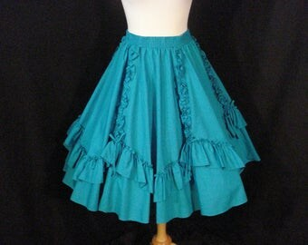 Teal Skirt Full Circle Square Dane Malco Modes Scalloped Ruffled Skirt ML