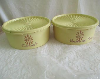 Tupperware Canisters Storage Containers set of 2 with lids Yellow