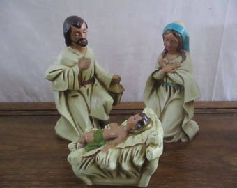 Nativity Holy Family Joseph Mary and Baby Jesus Statue Paper Mache