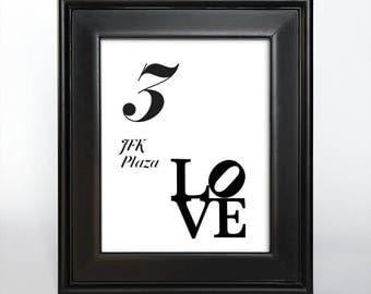 Printable Philadelphia Table Number Reception Wedding Decor Sign Cards Landmark Icons 4x6 5x7 or 8x10 Choose Font, Color and Landmarks