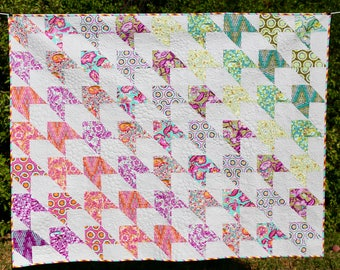 MarveLes  QUILT Tula Pink Chipper Fabrics Cozy Bed Large Lap in Multiple Bright Colors Turquoise Green Pink Purple Orange
