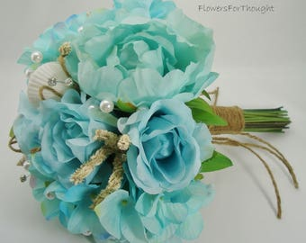 Beach Wedding Bouquet with Seashells, Aqua Blue Peonies