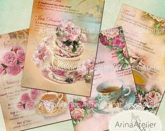 SALE - 30%OFF - Tea Cups Cards - ATC Cards - Collage Sheet Download - Digital Tags - Printable Sheet - Digital Images - Digital Collage Imag