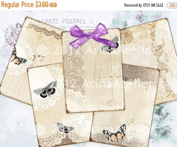 SALE - 30%OFF - Vintage Lace & Butterflies -Romantic ATC Cards - Shabby Chic Backgrounds - Digital Tags - Download Collage Sheet