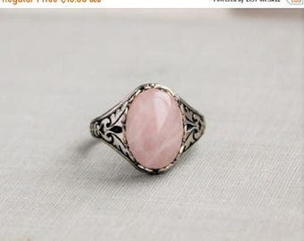 VACATION SALE- Rose Quartz Ring. Antique Silver or Antique Brass
