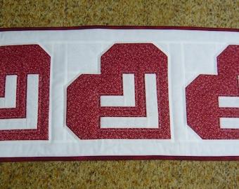 Handmade Slanted Hearts Table Runner - Valentine Hearts - Red & White