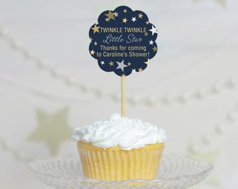 Set of 12 Cupcake Toppers - Star Baby Shower - Custom Cupcake Toppers - Cupcake Decorations - Star Cupcake Toppers -  Baby Shower Decoration