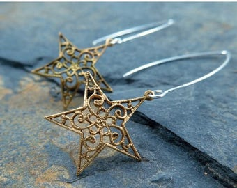Gold Star Earrings, Star Jewelry, Dangle Earrings, Gift for Her, Celestial Jewelry, Silver and Gold, Hostess Gift