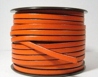 5mm Flat Leather - Rust / Black - 5F-5