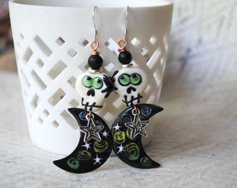 Skull Earrings, Halloween Earrings, Glass Bead Earrings, Enameled Copper Earrings, Sugar Skull Jewelry, Day of Dead Jewelry, Calaveras