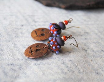 Spooky Earrings, Halloween Jewelry, Copper Ghoul Earrings, Colorful Earrings, Lampwork Glass Bead Earrings, Jack-o-Lantern Earring