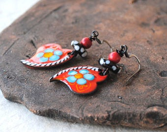 Red Heart Earrings, Artisan Enamel Earrings, Valentine's Day Gift, Lampwork Bead Earrings, Valentine's Heart Earrings, Striped Heart Jewelry