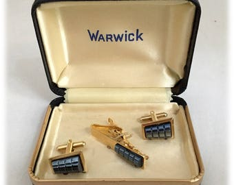 Vintage Mens Cufflinks Tie Clasp Set, Goldtone Gunmetal Gray Black Cut Glass, Warwick Clamshell Box