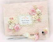 Blush Pink and Ivory Wedding Guest Book Personalized Guestbook Blush Wedding Vintage Style Guest Book Elegant Guest Book