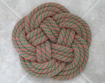 Handwoven Trivet Made from Recycled Climbing Rope -approx. 8  inch diameter.