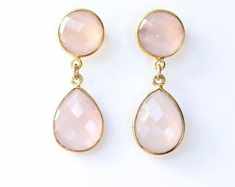 ON SALE Gold Pink Chalcedony Gemstone Earrings - Post Setting - For Her