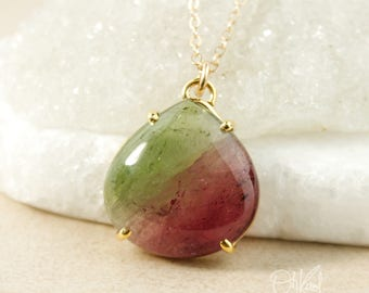 Reserved for D - Part 3 of 3 payment -Vibrant Apple Green & Cranberry Pink Tourmaline Necklace - Tourmaline Teardrop Pendant - One of a Kind