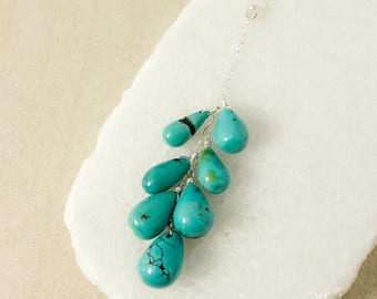 Silver Natural Blue Turquoise Cluster Necklace - Waterfall Pendant - Turquoise Teardrops