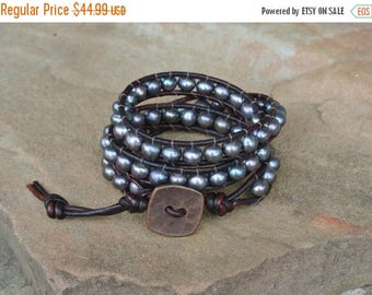 50% OFF SALE Galaxy Freshwater Pearl Beaded Leather Wrap Bracelet