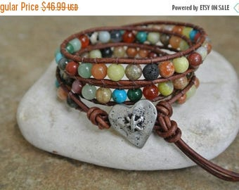 SALE 60% OFF Justhipstuff  Heart Gemstone Beaded  Leather Wrap Bracelet