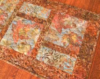 Quilted Fall Table Runner with Beautiful Batik Leaves in Rust Brown Gold and Blue, Modern Autumn Leaves Table Runner, Fall Home Decor