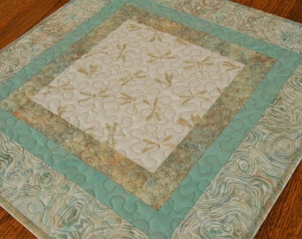 Quilted Dragonfly Table Topper in Aqua Cream and Taupe, Dragonflies Decor, Square Table Runner, Small Quilted Tablecloth, Quilt Table Mat