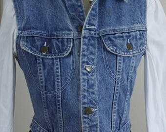 Vintage Denim Vest Size S Small, Sleeveless Jacket, Weathervane Jeans Basics