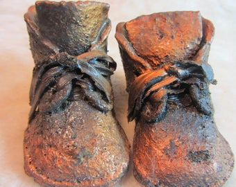 Antique Bronzed Baby Shoes, Baby Room Decor, Preserved Baby Shoes, Baby's First Pair of Shoes, Baby Memorabilia, Upcycled Baby Shoes