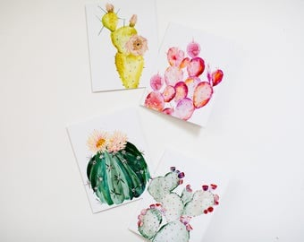 Watercolor Cactus Notecard Set - Set of 8 - A-2 folded cards with envelopes