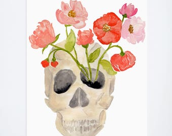 Watercolor Skull & Poppies - Art Print  - 8 x 10