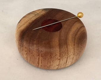 Low Profile Wooden Magnetic Needle Keeper  - Figured Big leaf Maple and Padauk Wood, Handmade by Greg Hanson