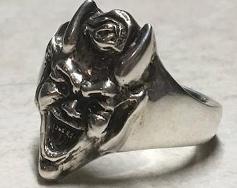 Sterling Silver Devil Ring. Heavy Mens Statement Ring.