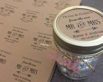 PRINTABLE Hugs and kisses tags Hugs and kisses from mr and mrs Wedding favor tags Wedding tags Wedding gift tags custom thank you tags kraft
