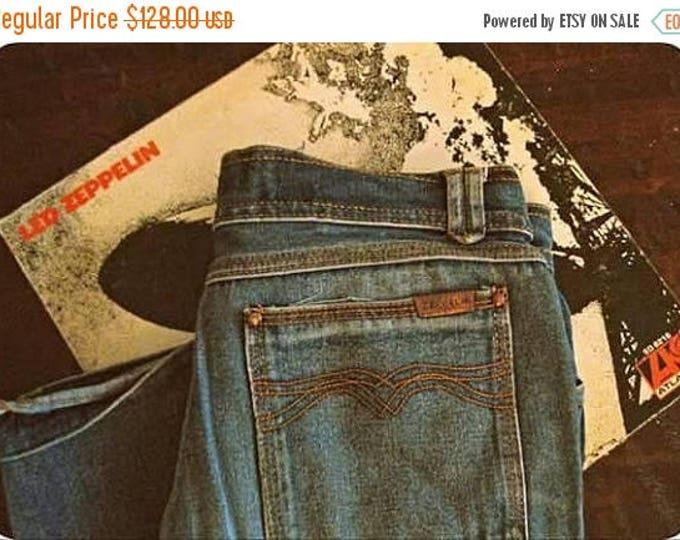 WINTER SALE Vintage 70s ZEPPELIN jeans / Hippie Boho denim jeans / 1970s straight leg jeans 30 x34