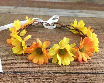 Flower Head Wreath,Floral Wreath,Music Festival Hair Wreath,Daisy Hair Accessories,Rustic Weddings,Yellow Head Wreaths,Flower Crowns