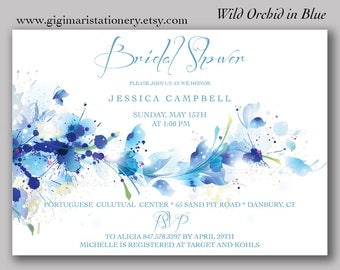 DIGITAL Wild Orchid Invitation - BLUE or PINK Orchid - Bridal Shower - Baby Shower - Engagement - Birthday
