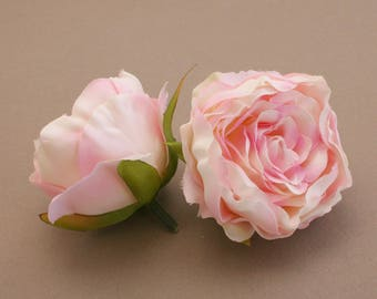 2 Small CREAM PINK Ruffle Peonies  - Artificial Flower Heads, Silk Flowers