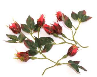 7 Rich Coral Rose Bud Picks  - Artificial Flower, Silk Flowers