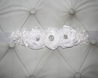 Women child baby satin Rhinestone flowers wedding dress flower girl comunion birthday baptism sash belt white