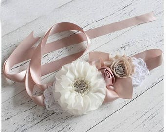 Women child baby satin Rhinestone pearls flowers wedding dress flower girl comunion birthday baptism sash belt rose taupe tan vintage style