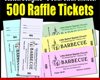 500 Card Stock Custom Raffle Tickets - Preforated Stub, Numbered on Two Ends - No Booking