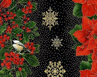 Timeless Treasures - Glamorous Holiday - Red Poinsettias & Black Stripes w/Metallic Christmas holiday Fabric by the yard CM4278-BLK